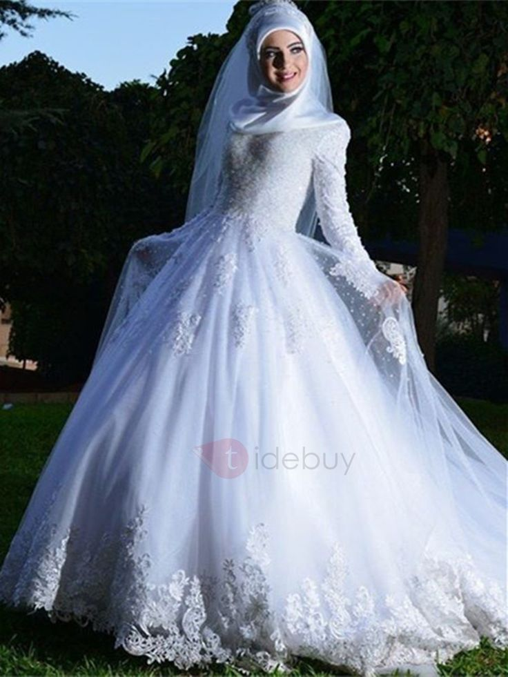 Tidebuy.com Offers High Quality Vintage Long Sleeves Appliques Muslim Wedding Dress, We have more styles for Muslim Wedding Dresses