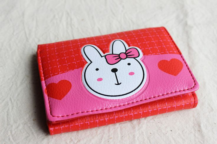 Rabbit Coin Purse Wallet Ladies Girls Tri Fold Cute Style Little Red Small New