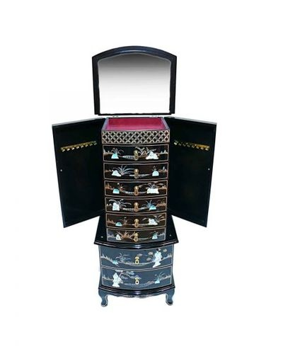 Black Lacquered With Mother Of Pearl Jewellery Armoire Oriental Furniture Art | eBay