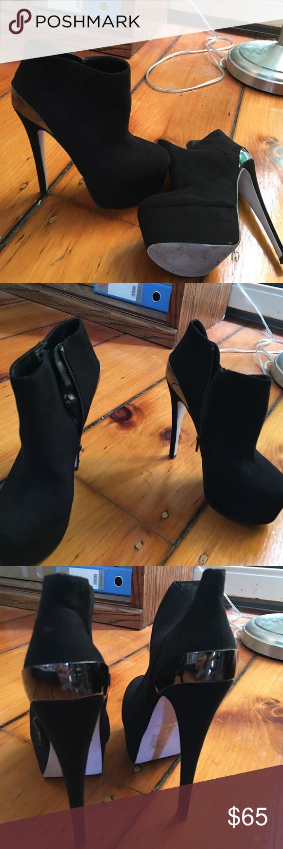 Kurt Geiger 160mm booties Caravela 36 Worn once or twice. In excellent used condition. Retail $200. 160 mm heel with a 2 in platform. Very similar style to Christian louboutin's 160 mm booties. Super comfy Kurt Geiger Shoes Ankle Boots & Booties