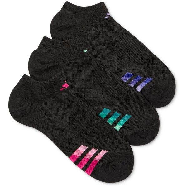 Adidas Women's 3-Pk. Cushioned No-Show Socks ($11) ❤ liked on Polyvore featuring intimates, hosiery, socks, black, moisture wicking socks, sweat wicking socks, adidas, adidas socks and wicking socks