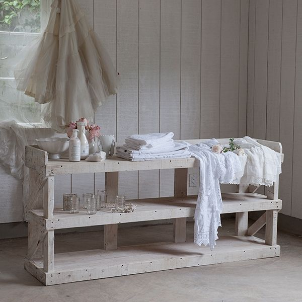The warrenton white console rachel ashwell collection for White shabby chic living room furniture