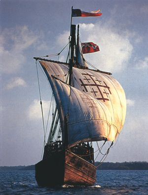 Replica of Christopher Columbus ship. Sooo tiny and like a bobbing cork.  (E.D.) before 31 October 1451 – 20 May 1506) was an explorer, navigator, and colonizer, born in the Republic of Genoa, in what is today northwestern Italy.