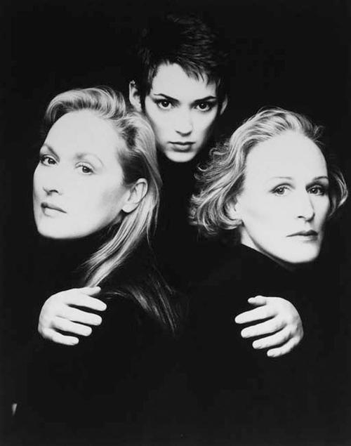 (L-R) Meryl Streep, Winona Ryder & Glenn Close photographed by Firooz Zahedi. S)
