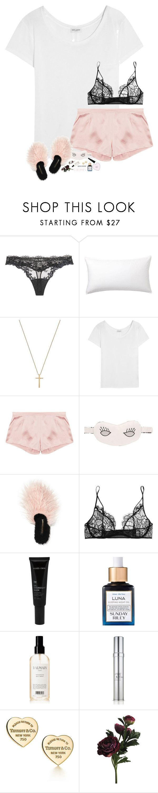 """I like it when you sleep for you are so beautiful yet so unaware of it"" by kthayer01 ❤ liked on Polyvore featuring La Perla, Pottery Barn, Gucci, Yves Saint Laurent, Morgan Lane, Avec Modération, Kiki de Montparnasse, Allies of Skin, Sunday Riley and Balmain"
