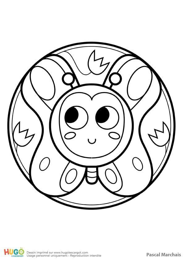 Coloriage Et Illustration D Un Mandala Papillon Pour Les Petits Leger Comme Une Bulle De Savon Le Papillon Est Au Mandala Papillon Coloriage Mandala Mandala