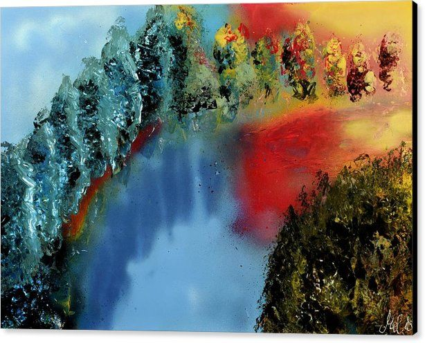 River Of Colors Canvas Print Featuring the painting River Of Colors by Nandor Molnar (When you visit the Shop, change the size, frame, canvas and wrap as you wish)