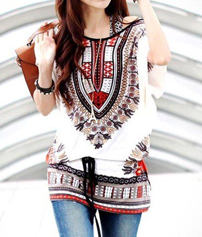 $7.22 Off-The-Shoulder Full Print Batwing Sleeve Ladylike T-Shirt For Women