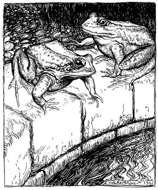 The Frogs and the Well: Aesop's Fables translated  by V.S. Vernon Jones and illustrated by Arthur Rackham. 1912