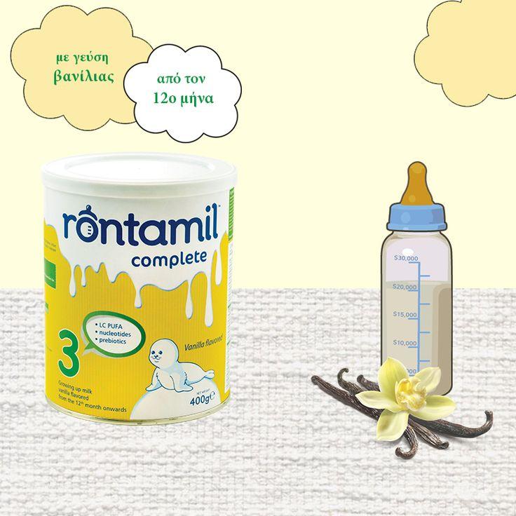 """""""Μοναδικό σε θρεπτική αξία-μοναδικό σε γεύση""""  Το """"Rontamil Complete 3"""" καλύπτει πλήρως τις διατροφικές ανάγκες των παιδιών μετά τον 12ο μήνα ως μέρος διαφοροποιημένης δίαιτας.  Έχει ισορροπημένη σύνθεση με πρωτεΐνες, νουκλεοτίδια, τα απαραίτητα λιπαρά οξέα, τις απαιτούμενες βιταμίνες, μεταλλικά στοιχεία, κα.   {rontamil: ιδανική επιλογή όταν ο μητρικός θηλασμός δεν εφαρμόζεται}"""