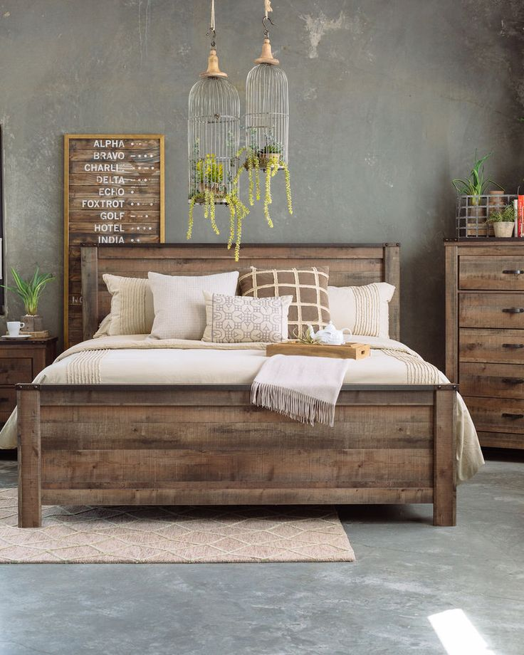 indian bedroom furniture catalogue%0A FourPiece Rustic Farmhouse Bedroom Set in Brown