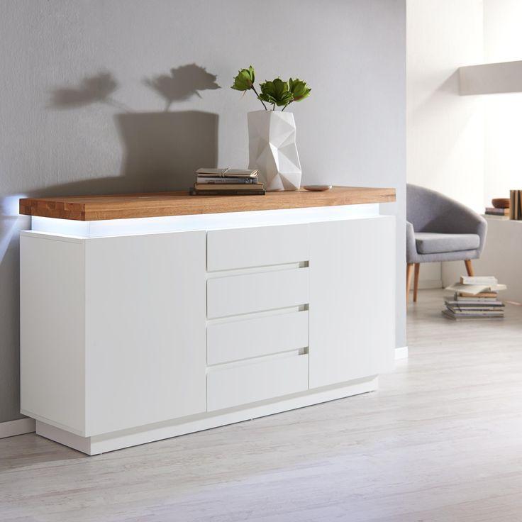 Sideboard In Weiss Mit Integrierter Beleuchtung Fr Ihr Wohnzimmer