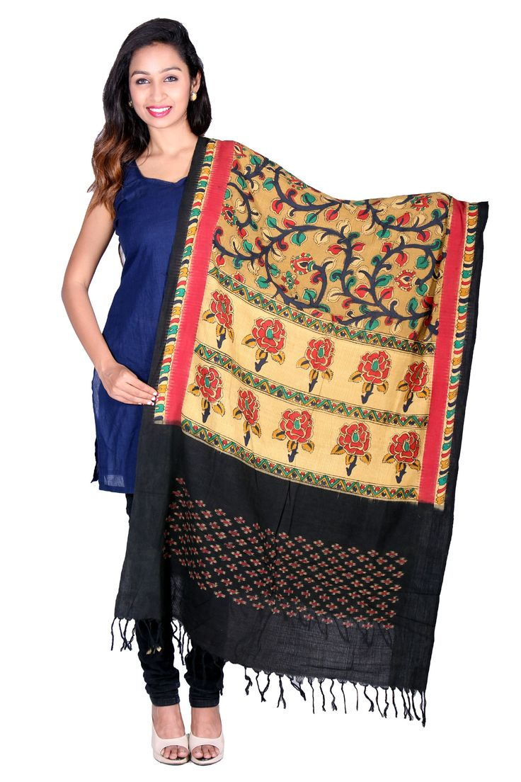 These kalamkari organic dyed dupatta gives you traditional approach towards versatile fashion and makes you create your own style statement. Price: 1850/-  (for trade inquiries please contact our whatsapp no  Single / Retail Customer ...please contact 8099433433 B2B/Resellers/Bulk buyers...please contact 8801302000)