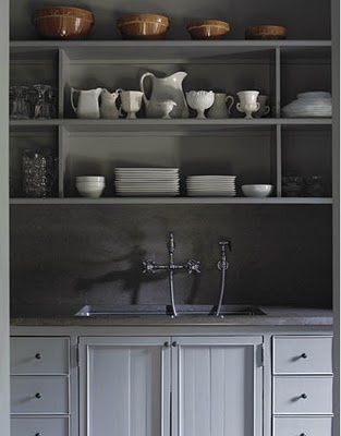 gray cabinets, white dishes on open shelves