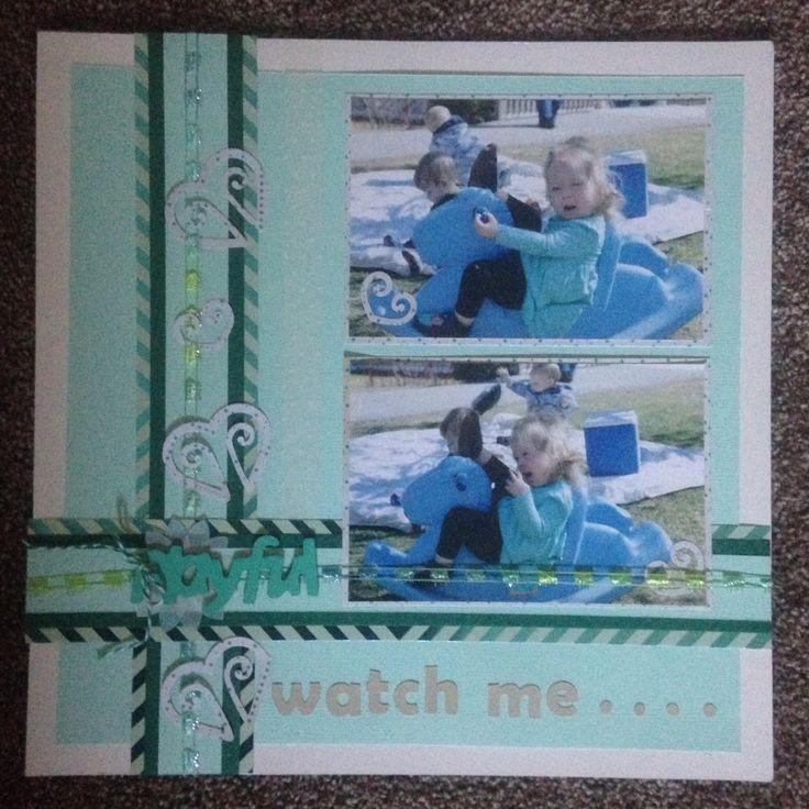 2 picture scrapbook layout, blues  Watch me...
