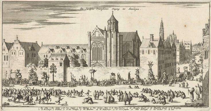 Jan Luyken | Jaarlijkse ommegang te Antwerpen, ca. 1680-1681, Jan Luyken, 1682 | Jaarlijkse ommegang te Antwerpen, ca. 1680-1681. Een stoet van praalwagens met allegorische voorstellingen trekt door de straten van Antwerpen langs een kerk tussen knielende toeschouwers. In de stoet bevinden zich wagens met voorstellingen van: de Walvis, de reus Antigoon, de Parnassus, Betlehem, de Drie Koningen, het Laatste Oordeel en de Hel. In het onderschrift de legenda 1-18.