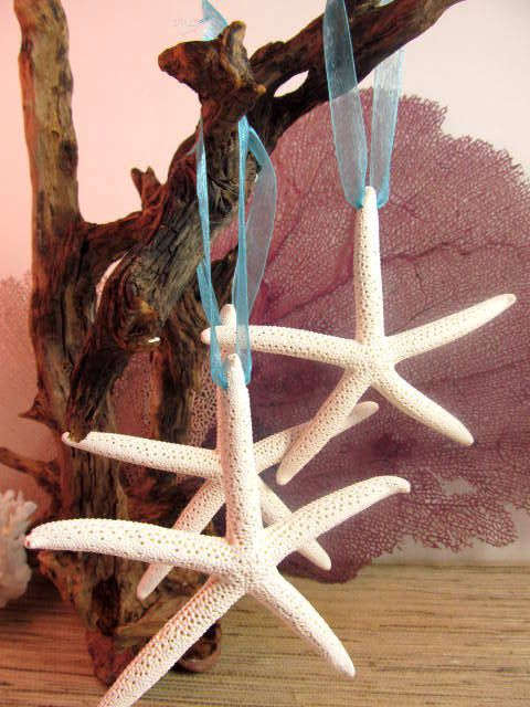 Beach Decor Cheerful Starfish Coastal Christmas Ornaments. $10.50, via Etsy.