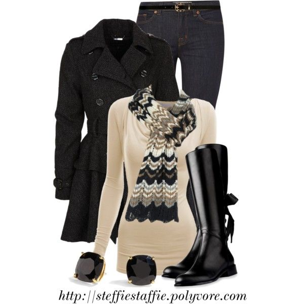 """Peplum Coat & Bow Back Boots"" by steffiestaffie on Polyvore"