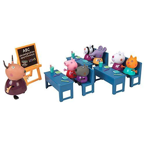 Join Peppa and her classmates for a day at school under the watchful eye of their teacher Madame Gazelle. This classroom play set makes going to school lots of fun. Peppa Pig and each of her 5 classm...
