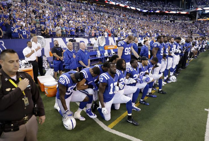 """NFL players across the league protested during the national anthem Sunday in defiance of President Trump, who said that players who kneel during the """"The Star-Spangled Banner"""" should be fired. Many players sat, kneeled, locked arms, raised fists or stayed inside locker rooms as... - #Arms, #Fists, #Kneel, #Lock, #Nation, #News, #NFL, #Players, #Raise"""