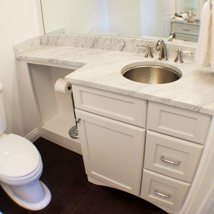Website Photo Gallery Examples Changing depths but not heights in this small bathroom keeps the space from feeling crowded