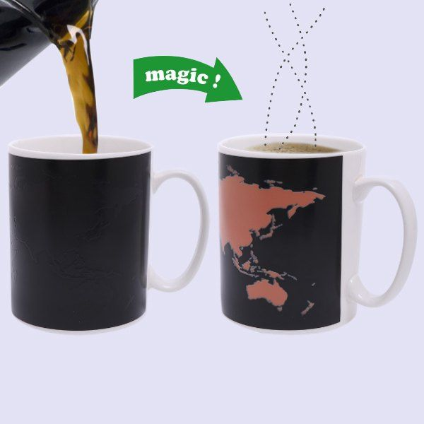 Magic The World Map Pattern Ceramic Heat Sensitive DIY Color Changing Mug  For Gifts