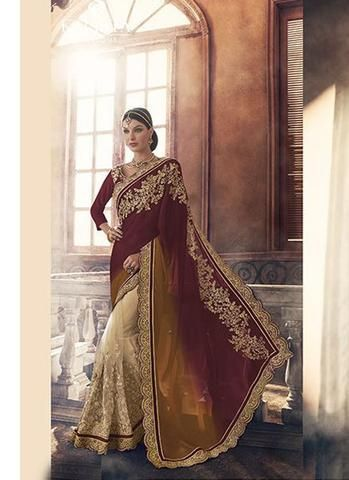 Brown Georgette Saree with Lace Border Work ,Indian Dresses