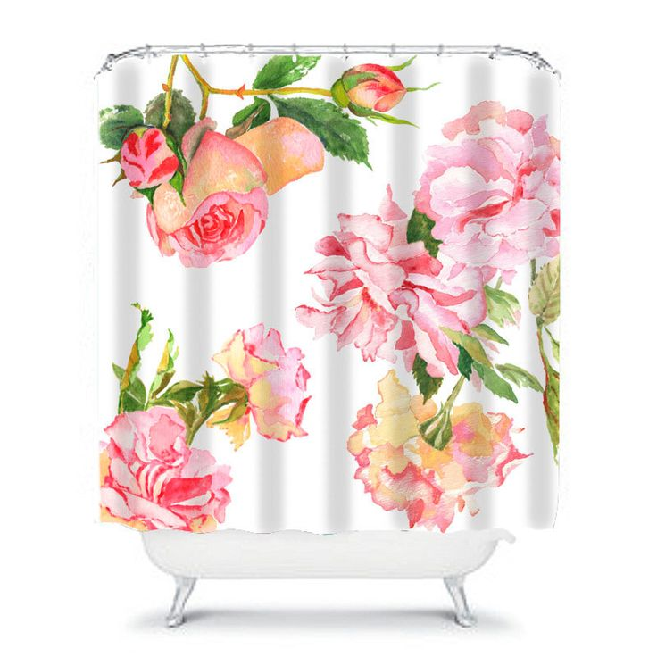 shabby chic shower curtain, rose shower curtain, floral shower curtain, shabby chic bathroom decor, rose decor, aqua, pink and white shower by OzscapeHomeDecor on Etsy https://www.etsy.com/listing/246476738/shabby-chic-shower-curtain-rose-shower