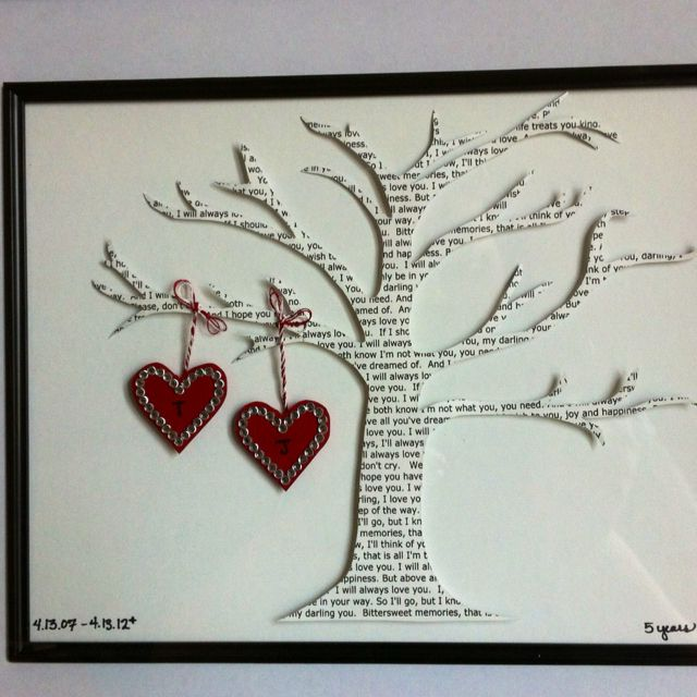 Great anniversary gift.. cut lyrics of your wedding song into a tree and hang 2 hearts on it with your names on it.  I wish I had seen this for our 20th... will have to remember it for 25, not that far off!!! :-)