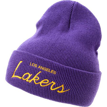 Grab the NBA Mitchell and Ness Lakers purple fold beanie for some new Kobe-approved team gear.