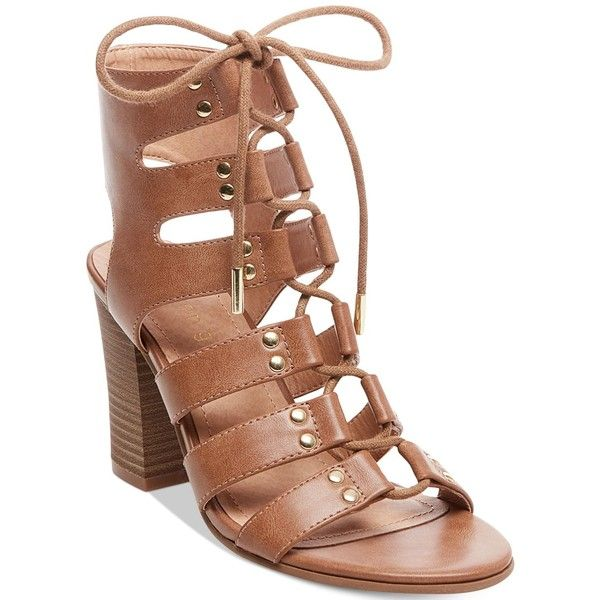 Madden Girl Nyles Lace-Up Block-Heel Sandals ($59) ❤ liked on Polyvore featuring shoes, sandals, cognac, block heel shoes, block heel gladiator sandals, lace-up heel sandals, heeled sandals and gladiator sandals