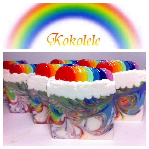 Pre-order Rainbow Cold Process Soap by Kokolele on Etsy