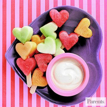 These Heart Kabobs are so cute and can be kept plant based by using a non-dairy yogurt! There will be no problem getting your little love bugs to eat up these healthy Valentine's Day treats | Parents