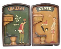 Vintage Washroom Signs Ladies Gents Wooden Oil Paint Hand Painted Risque Novelty WC by ValueBliss on Etsy