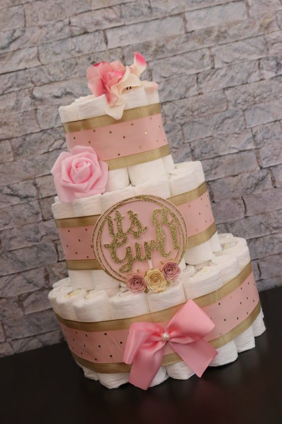 On Sale Baby Girl Girl Diaper Cake It S A Girl Blush Pink Gold Gifts For Baby Girl Baby Shower Pink And Gold Floral Diaper Cake In 2020 Baby Girl Diaper Cake