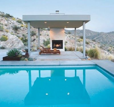 Pool Pavilion- Definitely my styleBuy A House, Swimming Pools, Fireplaces Design, California Home, Modern Outdoor Fireplaces, Palms Spring, Outdoor Room, Home Design, Backyards