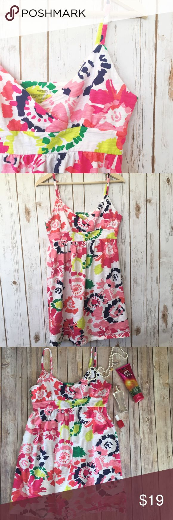 "Old Navy floral spaghetti strap sundress This is a great slip on dress for summer - looks super cute with sandals! Really comfy, too!  Gently used, but still in excellent condition. Measurements laying flat: bust 18"", length 32"", waist 15.5"" (straps are adjustable!) {RS2.B.170317} Old Navy Dresses"