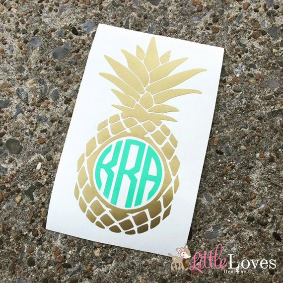 Pineapple Vinyl Monogram Decal Monogram by LittleLovesDesigns