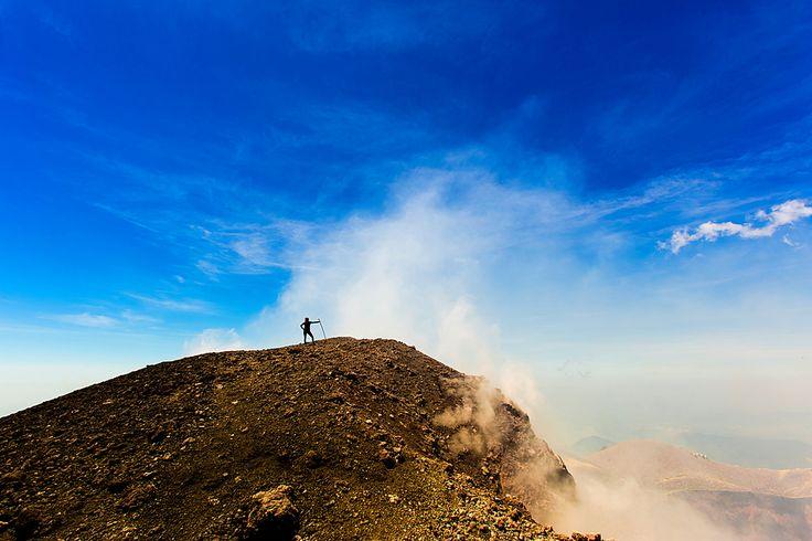 Cresting the peak of Pacaya Volcano in Guatemala City.