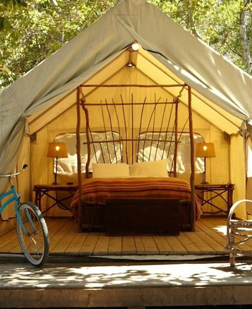 "El Capitan | Made up of cabins and tents (for those who are looking to ""glamp"" in large decked out tents with a double bed and electric lighting), El Capitan offers a rustic but luxurious way to experience the El Capitan Canyon and beach near Santa Barbara."