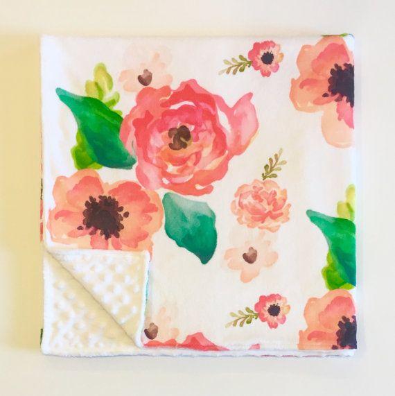 Floral minky baby blanket | coral peach blush pink flowers floral nursery | by WilderAndBean