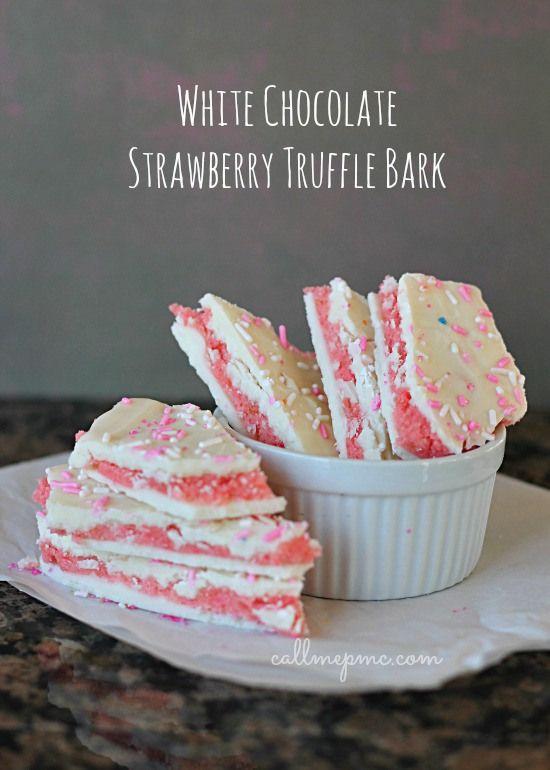 White Chocolate Strawberry Truffle Bark