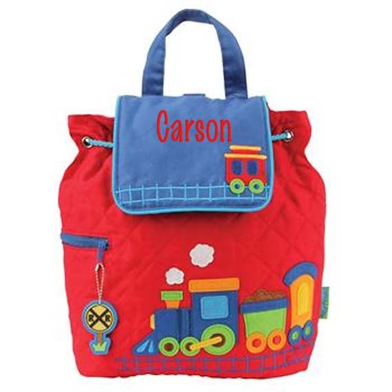 This listing is for quilted backpack by Stephen Joseph with Train design. Best suited for daycare/preschool aged children. They also make great diaper