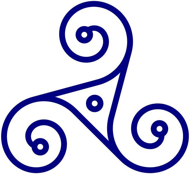 triskle símbolo celta que representa as tríades da vida em eterno movimento e equilíbrio
