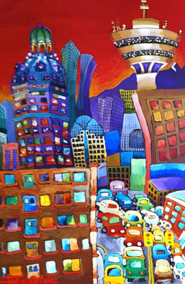 """The SunTower,  48"""" x 72"""", acrylic on canvas, 2012"""