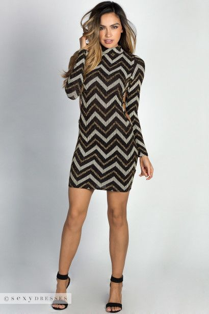 """Cicely"" Gold Chevron Glitter Print Long Sleeve Backless Dress"