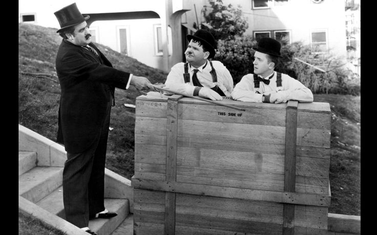Laurel and Hardy, with Billy Gilbert, in the Oscar-winning 1932 short film The Music Box