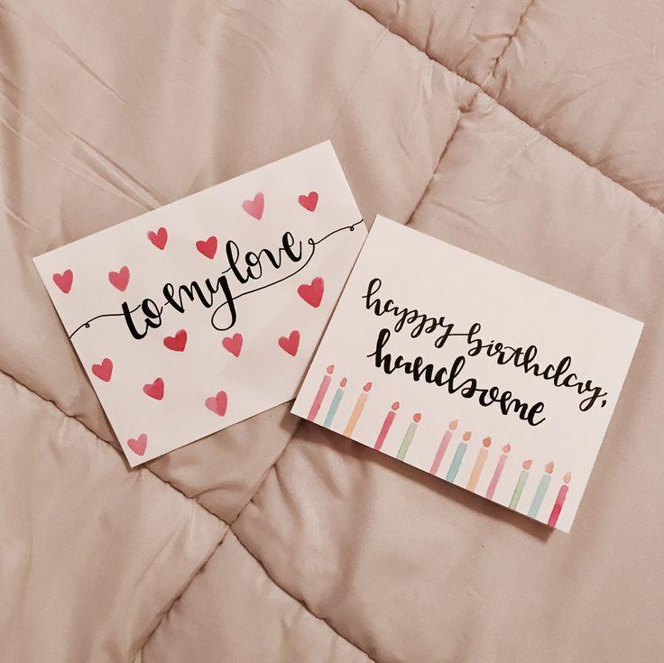 Boyfriend birthday card. Birthday card. DIY birthday card. Valentine's Day envelope. Valentine's Day card. Hand lettering birthday card. Calligraphy birthday card. Hand made birthday card. Boyfriend envelope. DIY envelope. Calligraphy envelope. Hand lettering envelope.