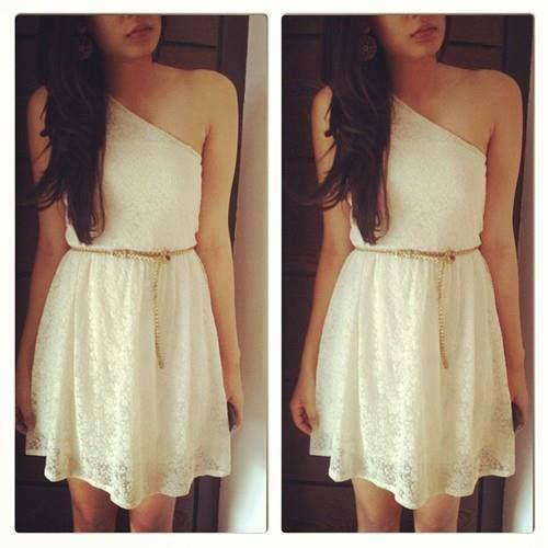 vestido blanco juvenil de un solo hombro descubierto estilo griego