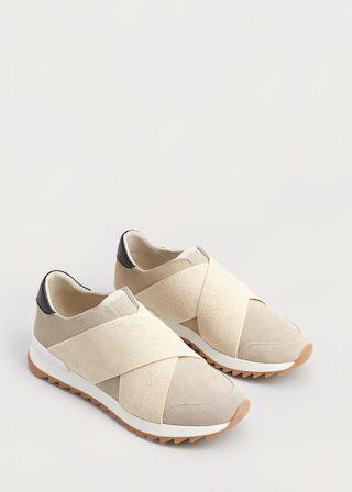 Кожаные кроссовки без шнурков | VIOLETA BY MANGO ВИОЛЕТТА БАЙ МАНГО